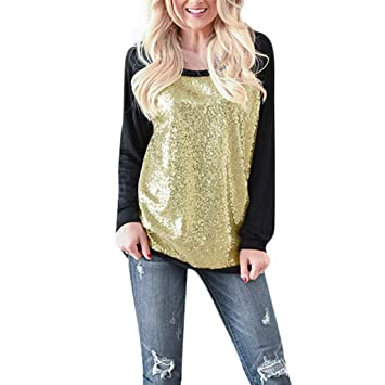 603245b5 Amazon.com: general3 Women Casual Sequin Blouse Long Sleeve Scoop Neck Top  Patchwork Tunic Shirt Pullover (XL, Black): Beauty