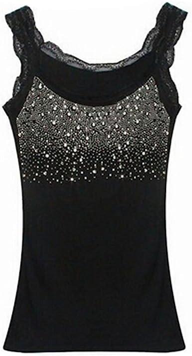 Edtoy Women's Rhinestone Sequin Lace Tanks Tops Basic Camis Sling Camisole  Cami Sleeveless Shirt (Black) at Amazon Women's Clothing store