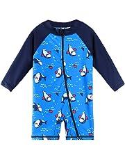 067d1bbfd3 HUAANIUE Baby Boy LongSleeve Swimsuit One Piece Zipper Swimwear Navy  Swimsuit 6M-6Y UPF 50