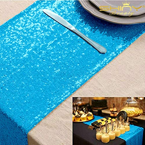12x72 Turoquise Sequin Table Runner Sparkly Metallic Sequin Runner for Wedding Party Dinner Reception, Event Bridalwedding Runner, Birthday Party, Dinner Party, Shower Ready to Ship!