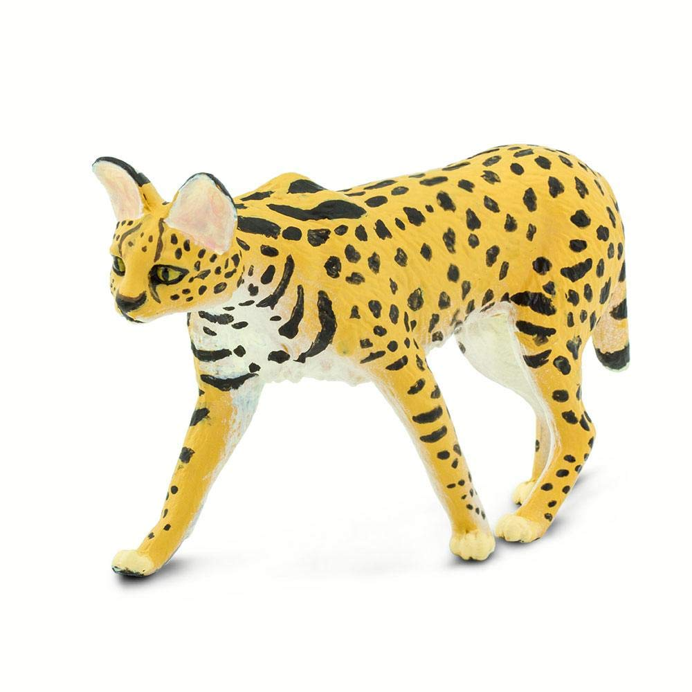 Quality Construction from Phthalate for Ages 3 and Up Safari Ltd Serval Lead and BPA Free Materials Wild Safari Wildlife