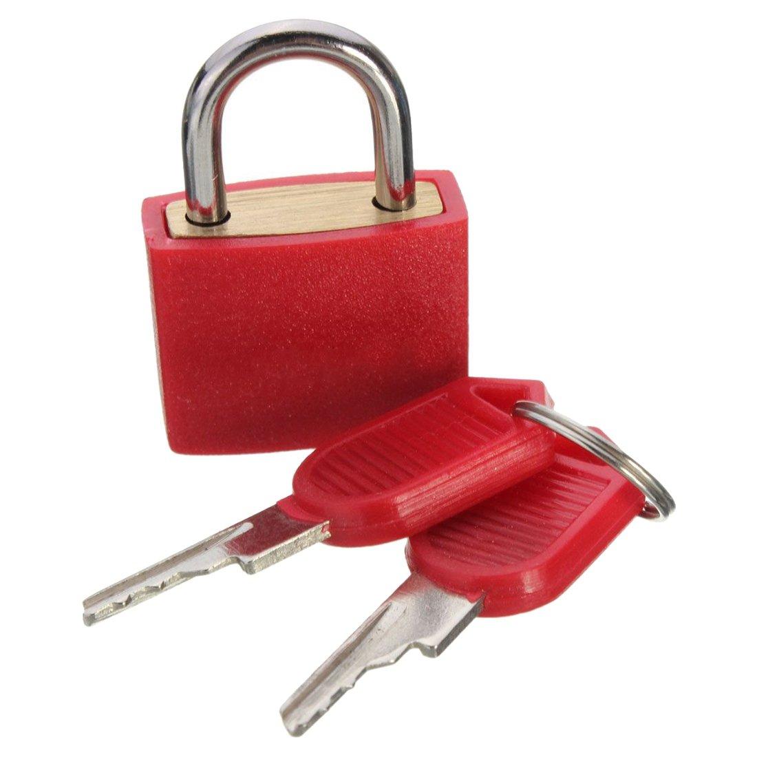 Travel Padlocks - SODIAL(R)23mm Brass Padlock Travel Luggage Padlocks Lock£¨Colour: red£
