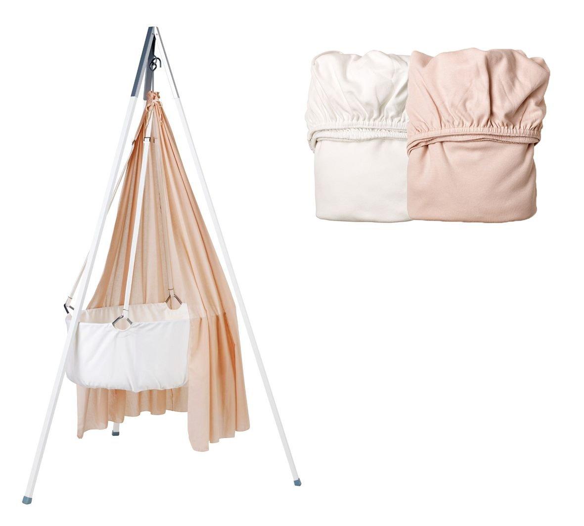 Wiegen-SET - Wiege mit Schleier soft pink, Stativ weiß und 2 Stück Spannbetttücher 1x soft pink/ 1x weiß