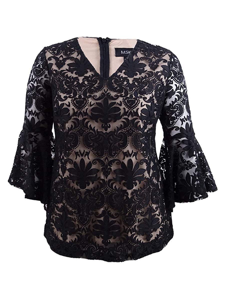 Black Nude MSK Women's Exaggerated Bell Sleeve Cocktail Top with Lace Motif