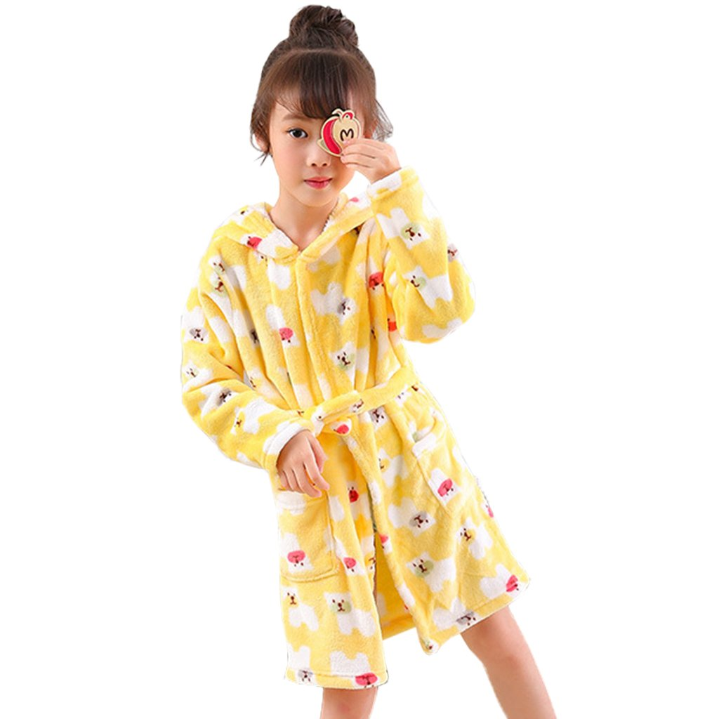 Vine Kids Bathrobe Hooded Nightgown Cute Pajamas Flannel Sleepwear Robes Loungewear
