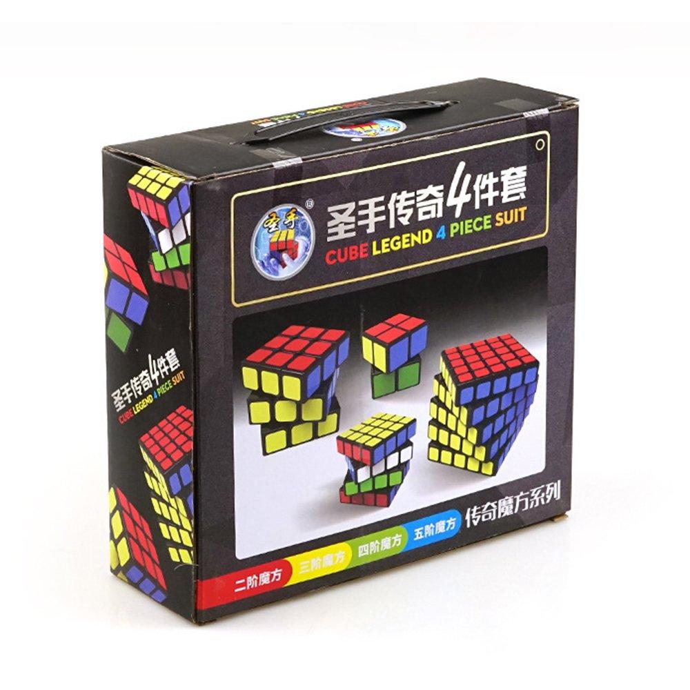 I-xun Speed Magic Cube Set of 2x2 Sticker Puzzle Cube Bundle Gift Pack 3x3,4x4 and 5x5 MoYu MFS