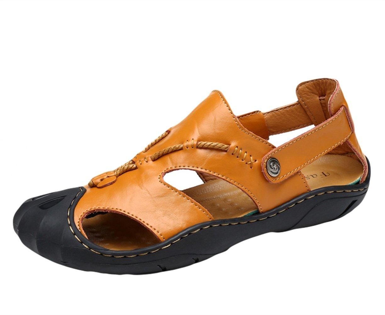 Insun Herren Outdoor Sport Sandalen Geschlossen Sandalen Leder Trekkingsandalen Strand Sandale Gelb 1