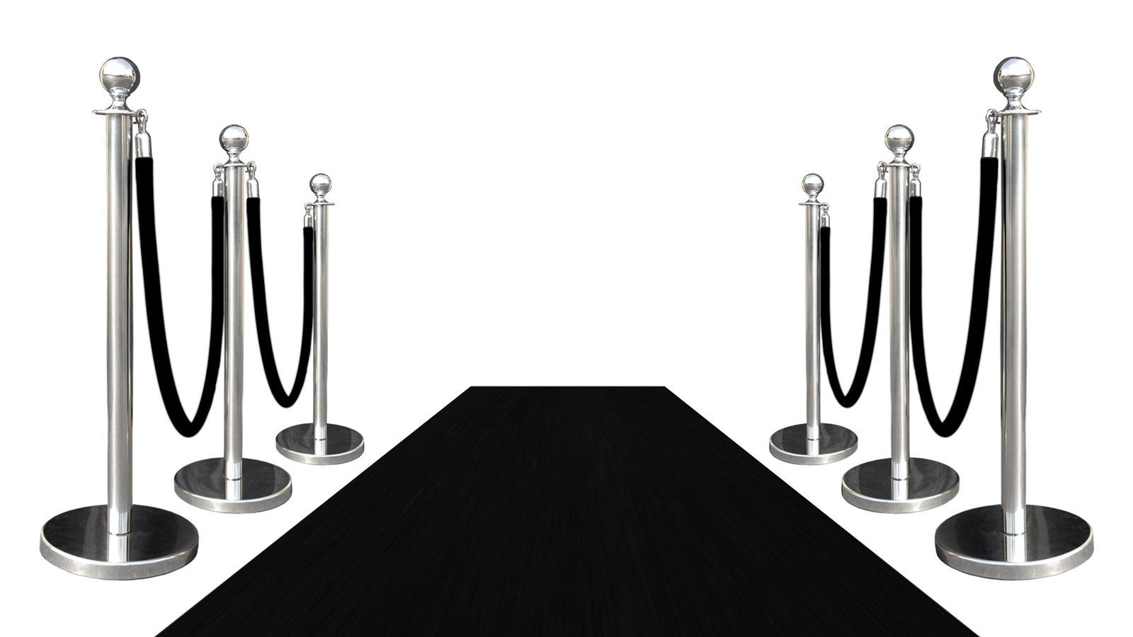 VIP BLACK CARPET COMBO SPECIAL (PKG INC 6-MIRROR POSTS + 4-ROPES + 1-3'X10' BLACK CARPET)