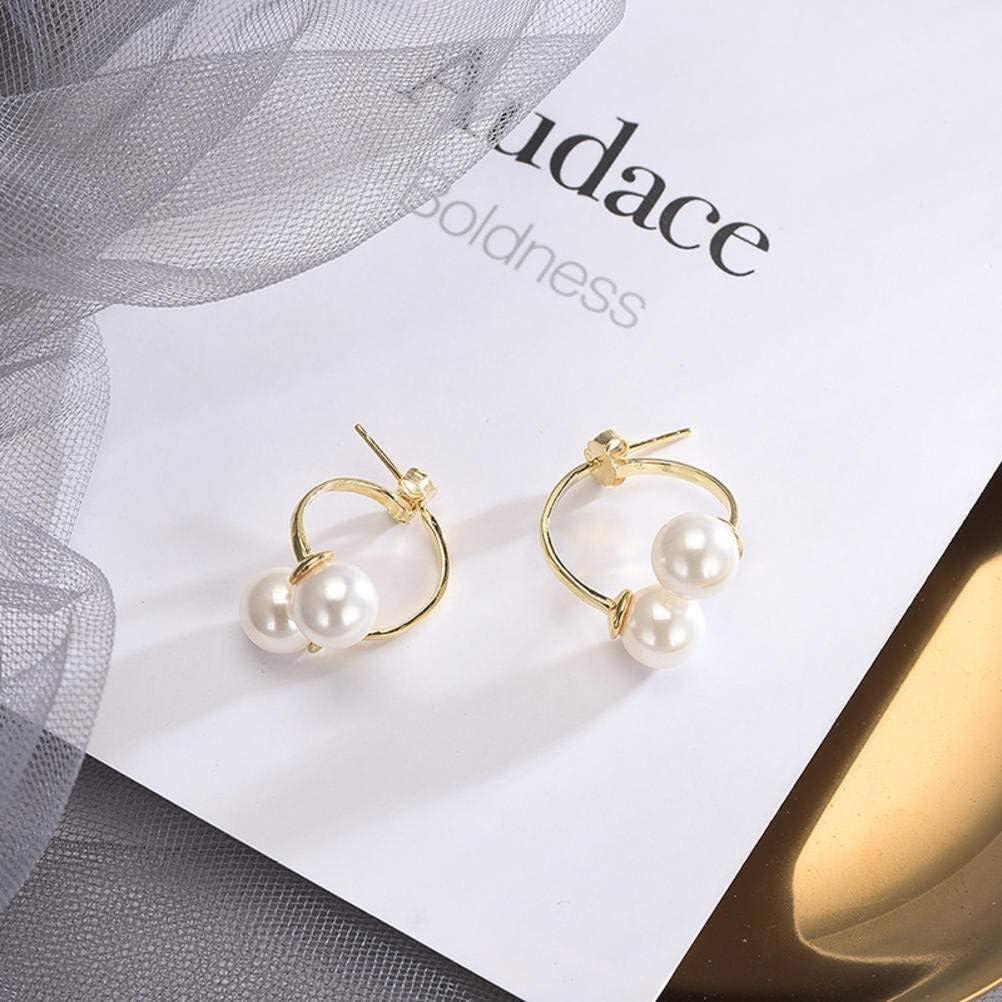 S925 Pendientes de Plata para Mujer Japón Y Corea Del Sur Pendientes de Perlas Cortas de Temperamento Dulce de Perlas Sintéticas con Cuentas Simples, WOZUIMEI, Como se muestra