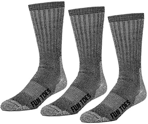 FUN TOES 3 Pairs Thermal Insulated 80% Merino Wool Socks Men's, Hiking Size 8-12 (Black)