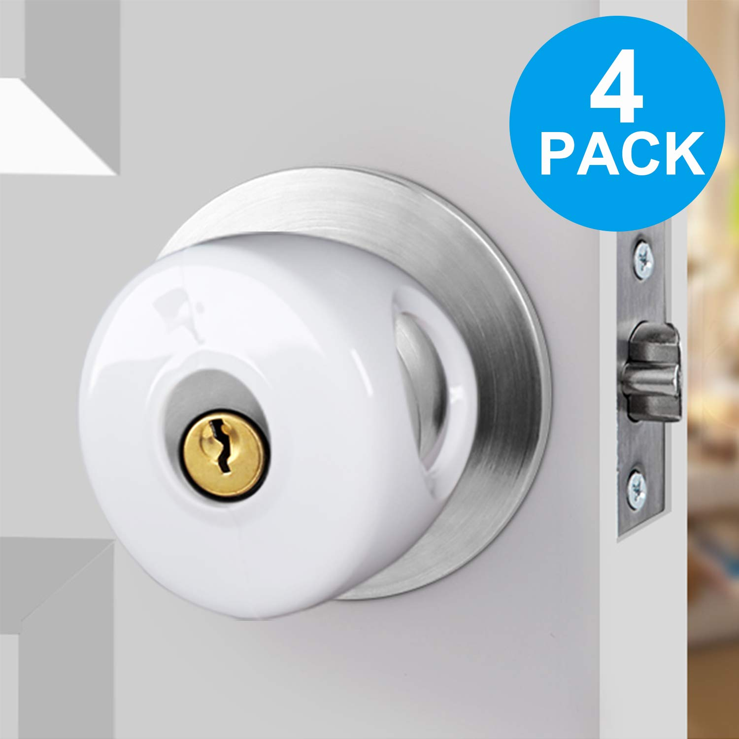 Door Knob Safety Cover for Kids,TUSUNNY Baby Safety Door Handle Cover,Easy to Install and Remove on Doors,Universal Design- FIT Most KNOBS,Child Proof Doors - Toddler and Baby Safety(4 Pack)