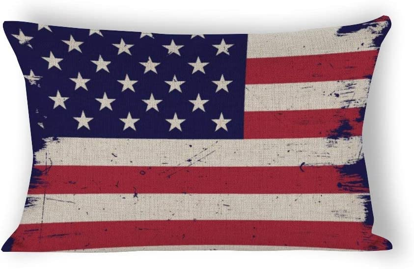 American Vintage Flag Rectangle Pillow Covers 12x24 Christmas Pillow Covers Lumbar Throw Pillow Covers Home Decor for Couch
