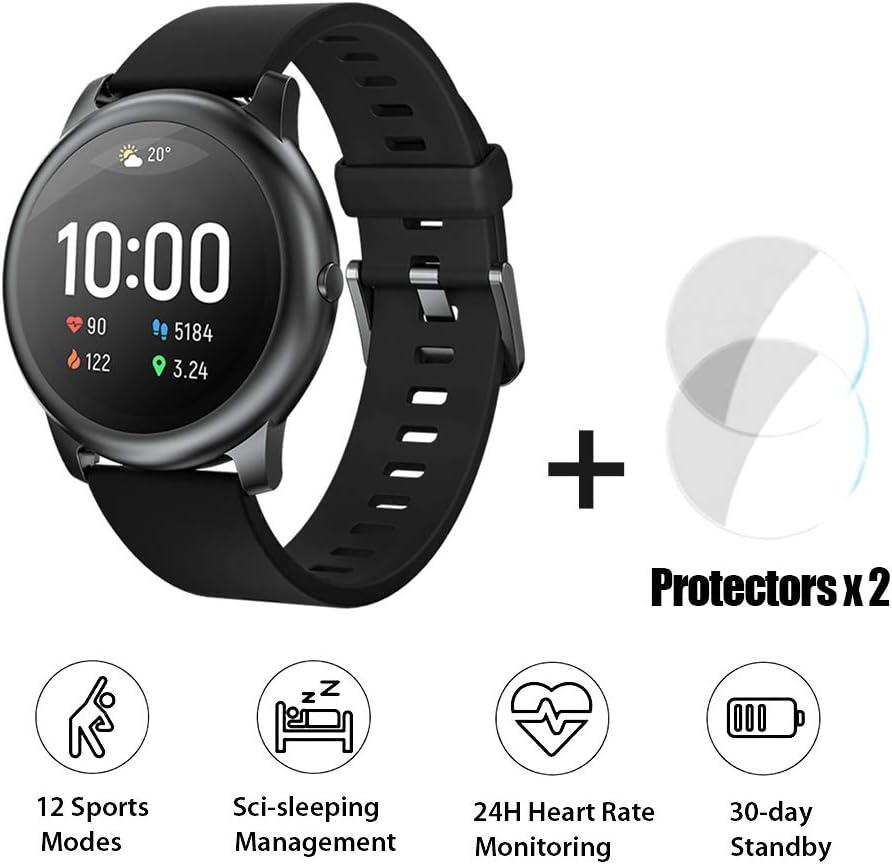 HAYLOU LS05 Global Versión Smart Watch Solar 12 Modos Deportivos Control de música Pulsera Deportiva 24H Monitoreo del Ritmo cardíaco Pulsera Diaria Impermeable+ Dos películas Suaves