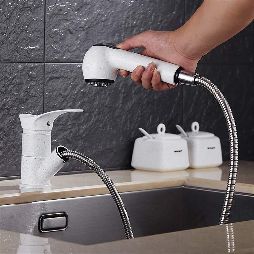 FERZA Home Waschbecken-Mischbatterie Badezimmer Küchenbecken Wasserhahn dicht Wasser sparen Küche Weiß Granitspüle Kupfer Pullable Heißes und Kaltes Wasser Strahlensenke B