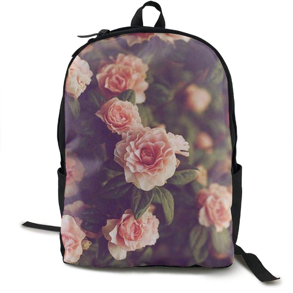 CNJELLAW Love Roses Travel Hiking Daypacks Cute Foldable Canvas Camping Backpacks Lightweight Biking Bag