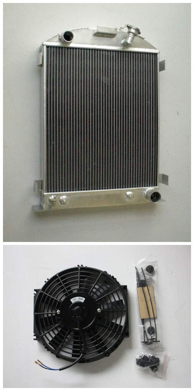 "MONROE RACING U0133 64mm 3 core aluminum radiator+16"" fan for 1932 FORD HIBOY HI-BOY CHEVY engine"