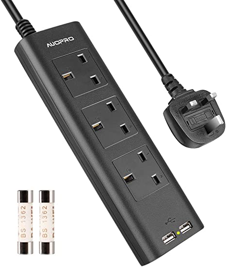 3 Gang Extension Lead With Usb Multi Plug Power Strip Amazon Co Uk Electronics