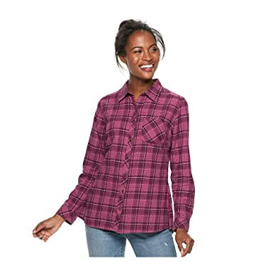 a694e675 Sonoma Goods For Life Women's Essential Supersoft Flannel Shirt ...