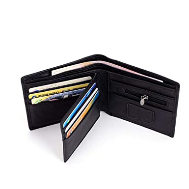 Mens RFID Blocking Wallet Fashion Cow Leather Purse Identity Protection Male Wallets