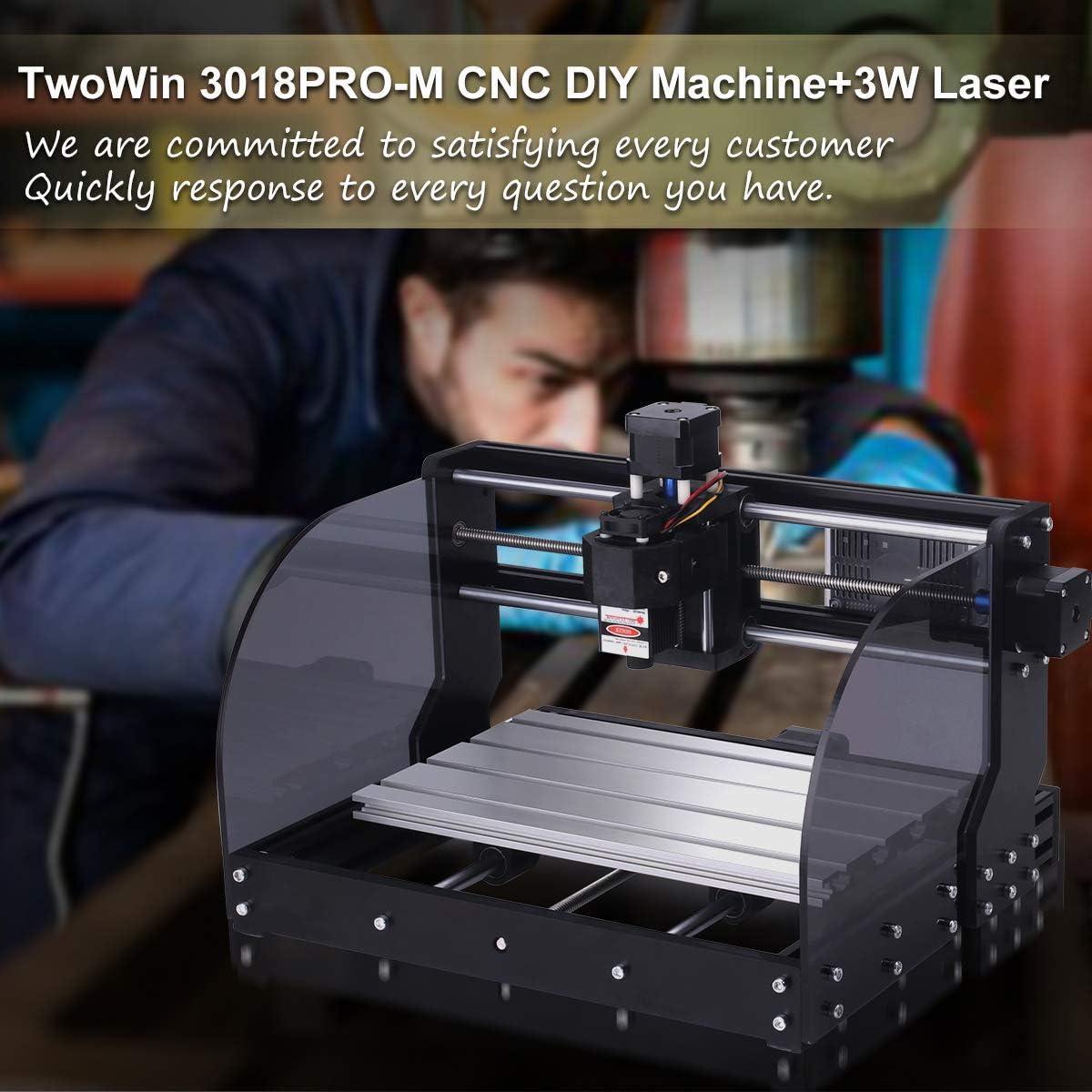 Cuero PCB TwoWin 3 ejes DIY Maquina De Grabado Mini con GRBL Control Board para Madera El Controlador Fuera De L/ínea ER11 【 2 en 1】3018 Pro-M CNC Fresadora con M/ódulo De 3 w