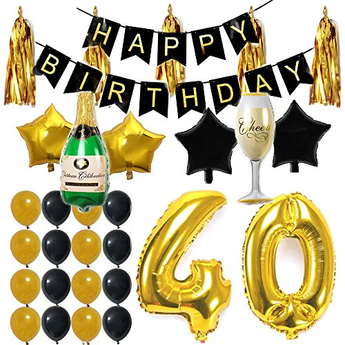 Ezing 40th Party Supplies Decorations Kit Pack , Happy Birthday Banner Latex & Star Foil Balloons (40th)