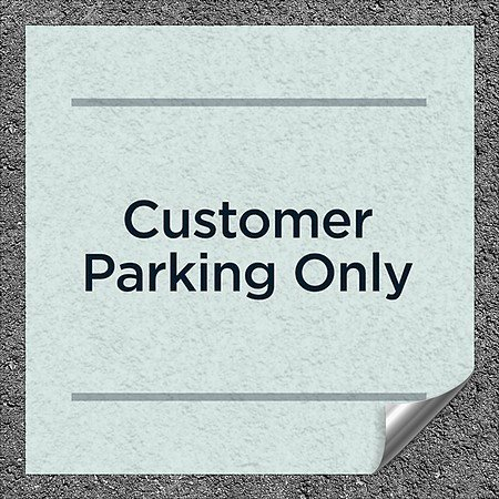 CGSignLab |''Customer Parking Only -Basic Teal'' Heavy-Duty Industrial Self-Adhesive Aluminum Wall Decal (5-Pack) | 16''x16''