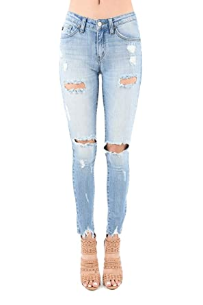 e559c3f1d6d Kan Can Jeans Holly-Cecelia Light Wash Mid-Rise Distressed Ripped Skinny  Jeans KC5055L