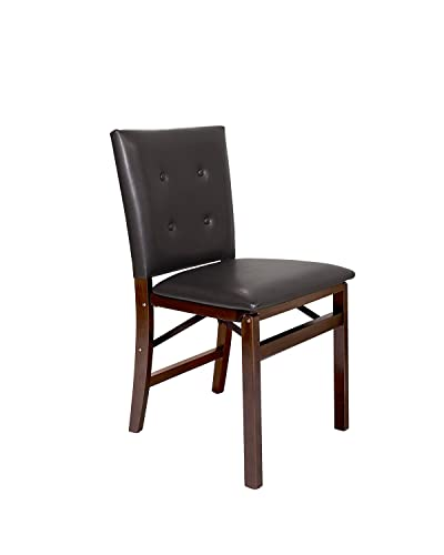 Meco STAKMORE Parson s Folding Chair Espresso Bonded Leather Finish, Set of 2,