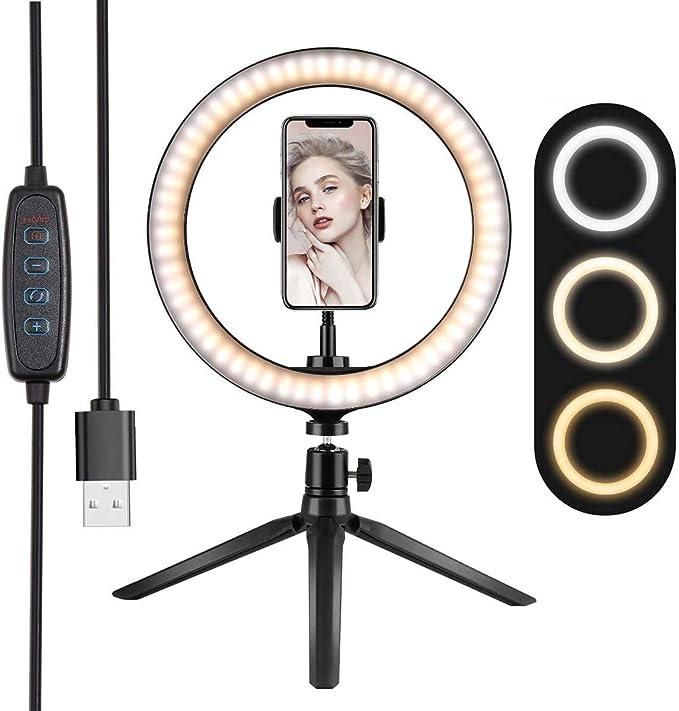 YWSS 10LED Ring Light avec tr/épied dimmable 3 Modes d/éclairage et 10 luminosit/é Selfie Desk Makeup Light avec Support de t/él/éphone Portable USB Live Streaming Circle Light pour Youtube Video Live