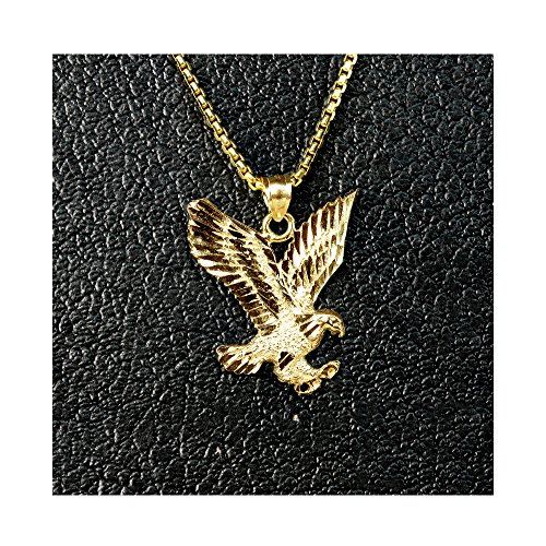 """MR. BLING 10K Yellow Gold Flying American Eagle Charm Necklace (1.60"""" x 1.25"""")"""