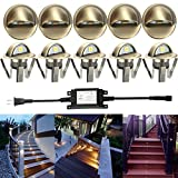 LED Deck Stair Light Kit, Sumaote 10 Pack Low Voltage Waterproof IP65 Φ1.38'' LED Step Light Wood Recessed Warm White LED Lighting Outdoor Garden Yard Patio Step Landscape Decoration Lamp, Green Bronze