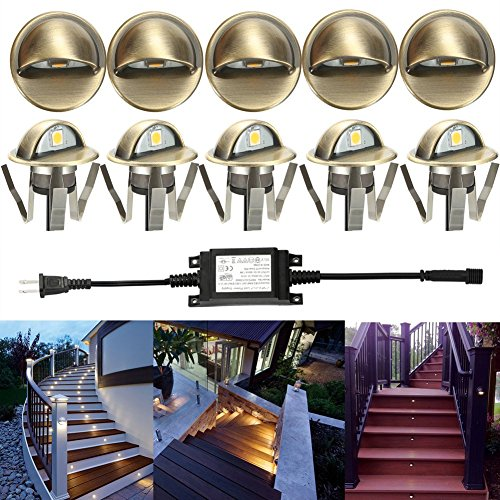 Low Watt Kit (LED Deck Stair Light Kit, Sumaote 10 Pack Low Voltage Waterproof IP65 Φ35mm LED Step Light Wood Recessed Warm White LED Lighting Outdoor Garden Yard Patio Stair Landscape Decoration Lamp, Green Bronze)