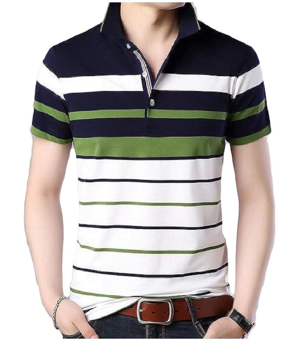 RongYao Men Button Short Sleeve Casual Striped Turn-Down Collar T-Shirt Top