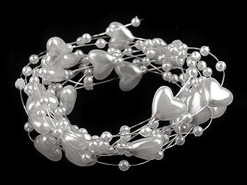Perlen Dekoperlen Perlenkette Tischdeko Hochzeit Floristik Deko Weiss Bastel- & Künstlerbedarf