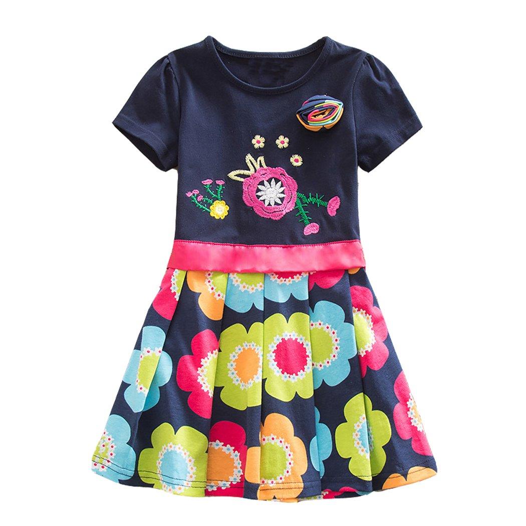 DXTON Toddler Summer Casual Cotton Flower Short Sleeve Girl Dresses, Sh5868borlanddx, 5