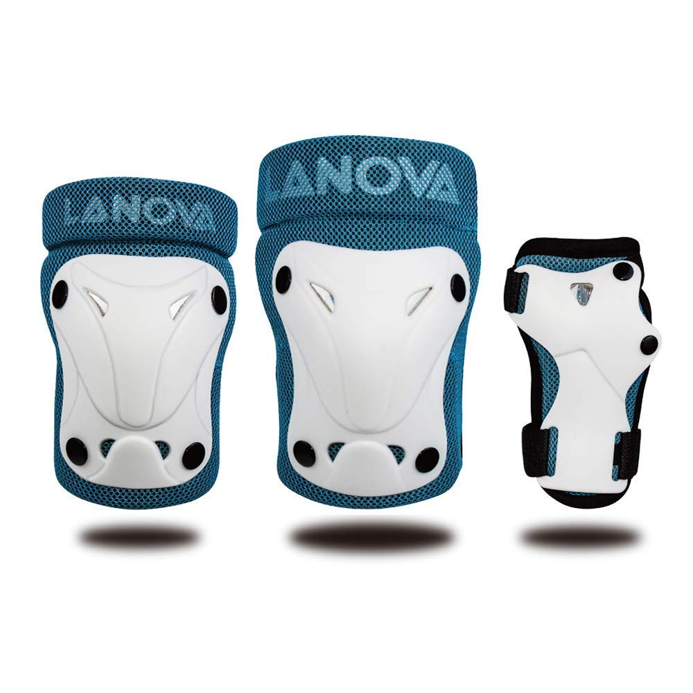 LANOVAGEAR Toddler Knee Elbow Pads and Wrist Guard for Kids 3 in 1 Safety Protector Set for Inline Skating Bike Cycling Skateboarding Rollerblading