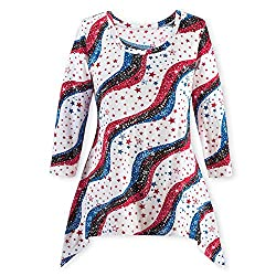 Stars and Stripes 3/4 Sleeve Sequin Sharkbite Top