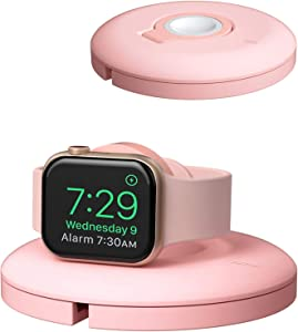 PZOZ Charger Stand Compatible for Apple Watch, Portable Charging Station Cable Management Dock Holder Case Organizer for iWatch with Band Series 6 SE 5 4 3 2 1 44mm 40mm 42mm 38mm Accessories (Pink)