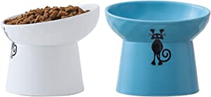 Tilted Raised Cat Food and Water Bowl Set,Elevated Cat Feeder Bowls with Stand,Ceramic Pet Bowls,Protect Pet's Spine,Backflow Prevention,2 Pack(White&Blue)