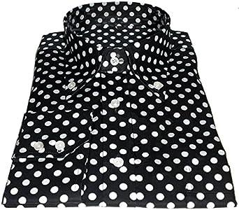 Desconocido Camisa para Hombre (Negro, Blanco, Lunares diseño Vintage algodón