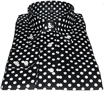 Camisa para Hombre (Negro, Blanco, Lunares diseño Vintage algodón Negro Negro, Blanco X-Large: Amazon.es: Ropa y accesorios