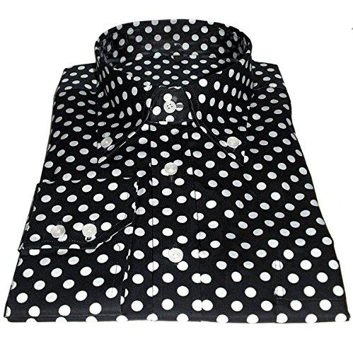 Maglietta da uomo in cotone bianco a pois Vintage Design di alta qualità nero