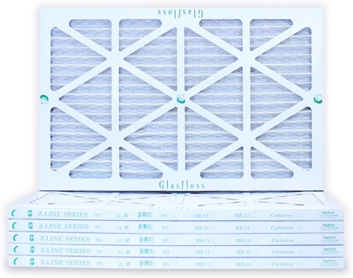 Pleated MERV 10 By Glasfloss 16x25x1 Air Filter 6-Pack Made in USA Removes Dust Pollen and Many Other Allergens