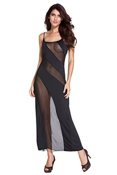 c4708653188 Amazon.com  Women Sexy Plus Size Oversize Lingerie Striped Nightgown Nighty  Sheer Mesh Babydoll  Clothing