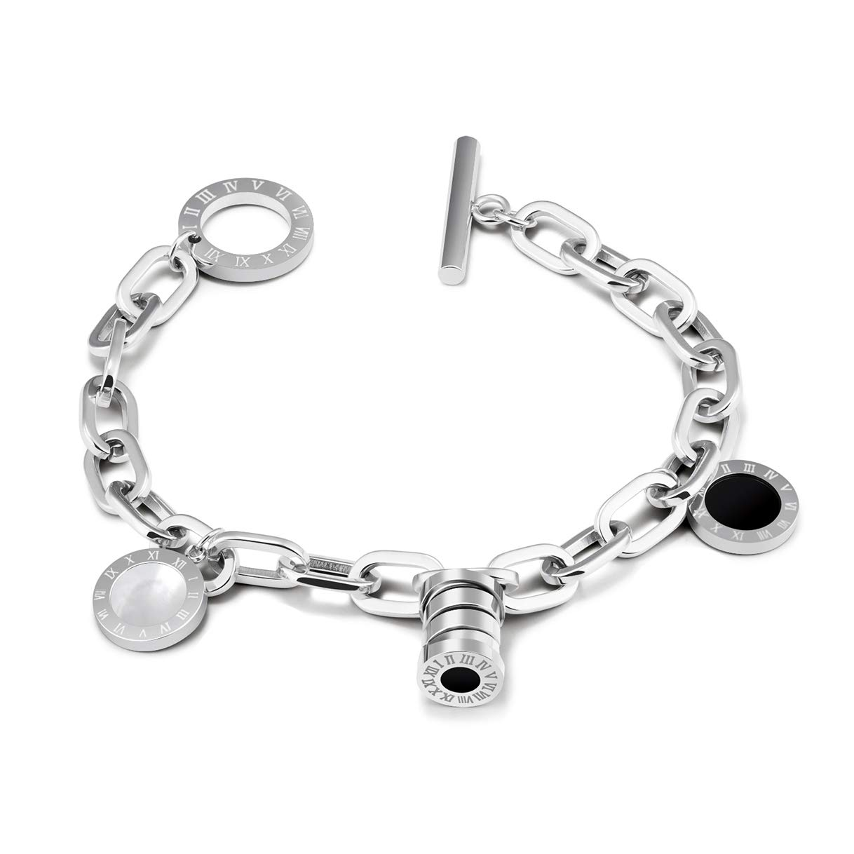 CHARMFAME Stainless Steel Roman Numeral Link Bracelet with Black /& White Charms Fashion Jewelry for Women /& Girls
