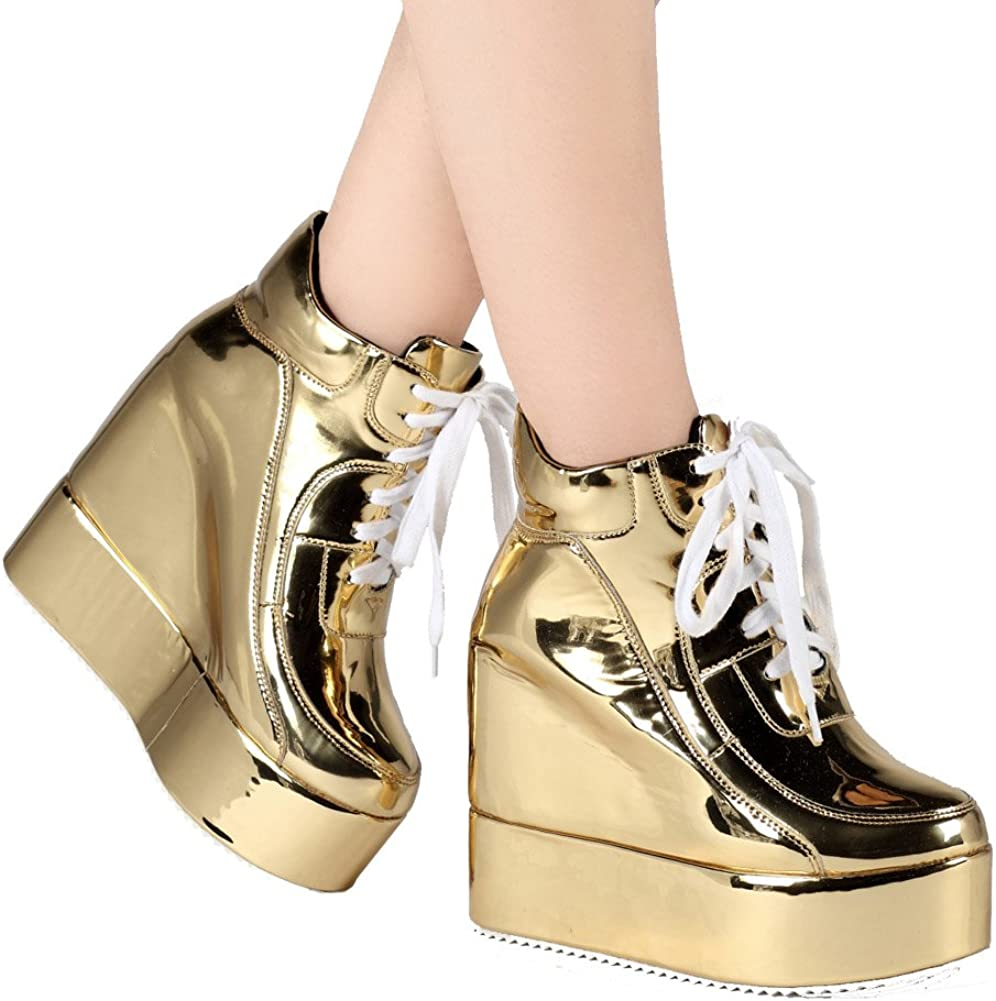 New Womens Platform lace up  Round Toe punk Hidden Wedge Heels Ankle Boots Shoes