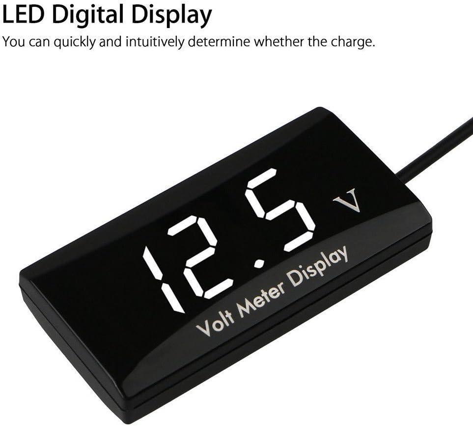 Hinmay Auto Digital Voltmeter Wasserdicht DC 12/V LED Digital Display Voltmeter f/ür Auto Motorrad Spannung Volt Meter Gauge