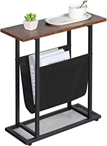 Dulcii Vintage Narrow End Table with Fabric Magazine Holder Sling, Modern Industrial Side Table or Sofa End Table, 21.7 Inch Nightstand for Small Spaces Wood & Metal H Shape with Book Storage Holder