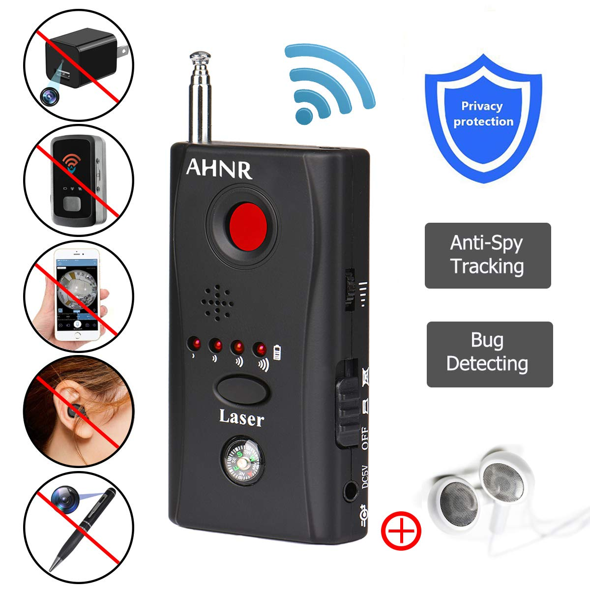 RF Bug Detector, Wireless Signal Detector for Spy Hidden Camera, AHNR Anti Spy Hidden Camera Pinhole Laser Lens GSM Device Ultra-high Sensitivity Full-Range Tracker Finder Portable Alarm Detector