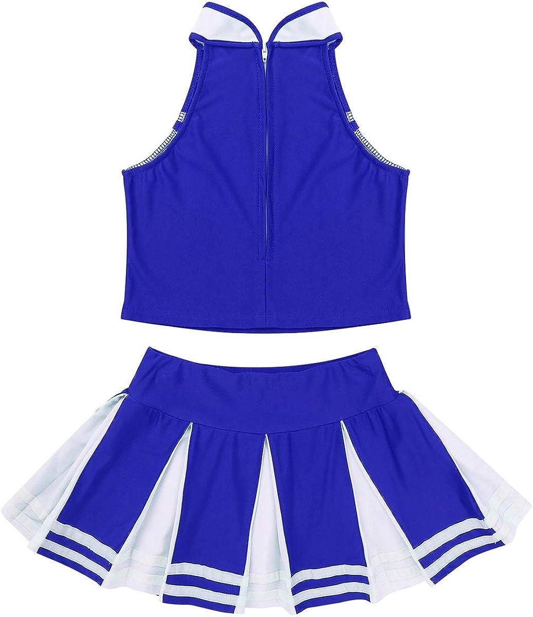 YUUMIN Kids Girls Cheerleading Outfit Sleeveless Tops with Pleated Skirt Set Costume